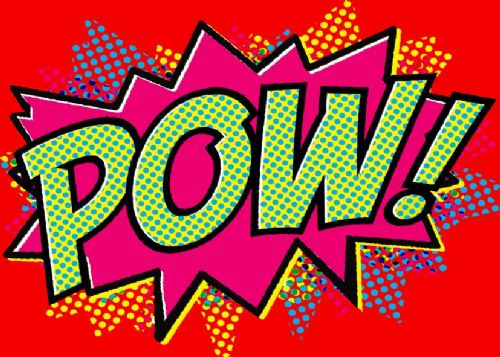 ART - POP ART - POW RED canvas print - self adhesive poster - photo print
